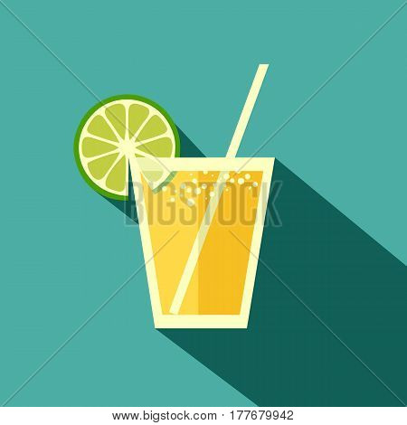 Illustration Cocktail With Lime Tequila In Flat Design Stile