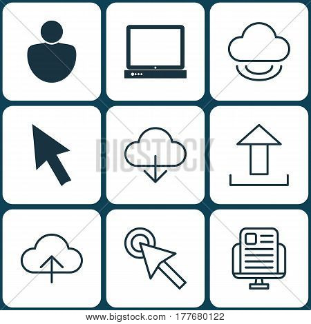 Set Of 9 World Wide Web Icons. Includes PC, Human, Save Data And Other Symbols. Beautiful Design Elements.