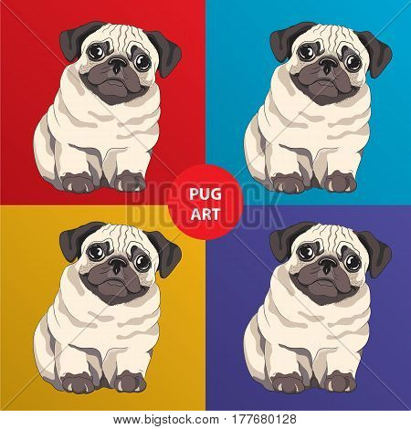 Lovely pug puppy. Cartoon character. Concept for Pets hotel or t-shirt print. Funny Pug art.