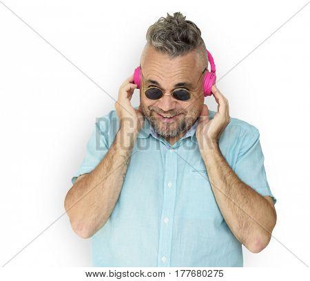 Caucasian Man Wearing Headphones Smiling