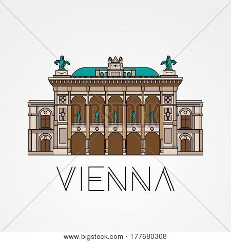 Vienna State Opera - The symbol of Austria. Modern linear style. One line concept.