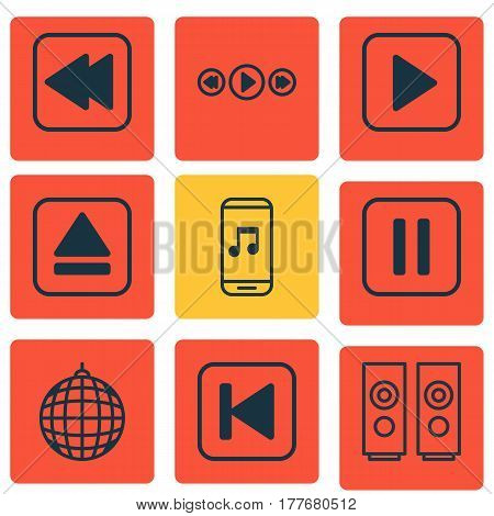 Set Of 9 Multimedia Icons. Includes Sound Box, Dance Club, Music Control And Other Symbols. Beautiful Design Elements.