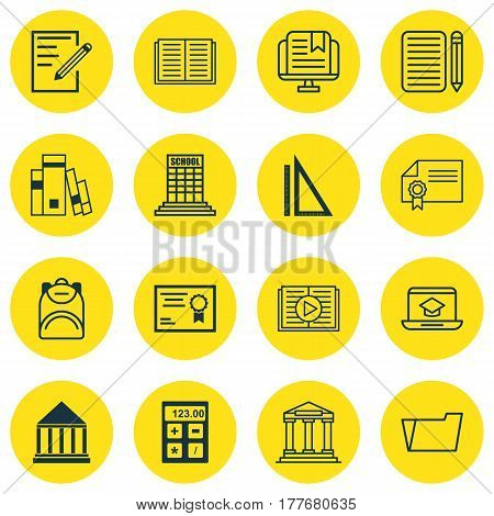 Set Of 16 Education Icons. Includes Education Center, Electronic Tool, Document Case And Other Symbols. Beautiful Design Elements.