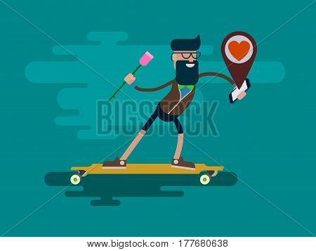 Hipster style young man with a rose in hand ride to his beloved on a skateboard guided by a smartphone