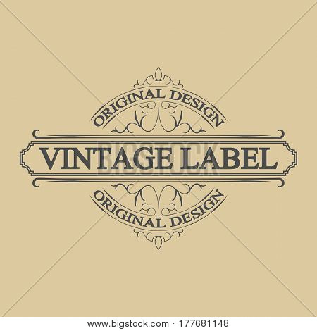 Vintage label, antique frame design, typography, retro logo template, vector illustration