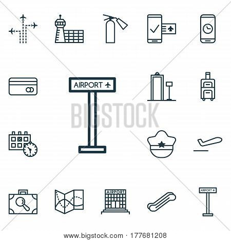 Set Of 16 Transportation Icons. Includes Road Map, Baggage Research, Fire Extinguisher And Other Symbols. Beautiful Design Elements.