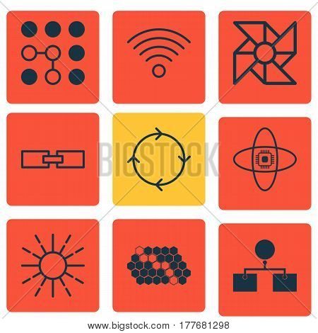 Set Of 9 Robotics Icons. Includes Laptop Ventilator, Recurring Program, Hive Pattern And Other Symbols. Beautiful Design Elements.