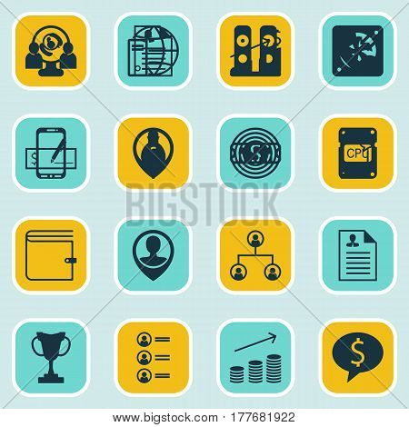 Set Of 16 Hr Icons. Includes Business Goal, Successful Investment, Bank Payment And Other Symbols. Beautiful Design Elements.