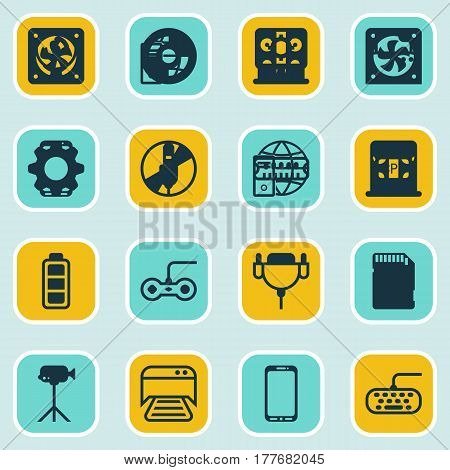 Set Of 16 Computer Hardware Icons. Includes PC, Computer Keypad, Joystick And Other Symbols. Beautiful Design Elements.