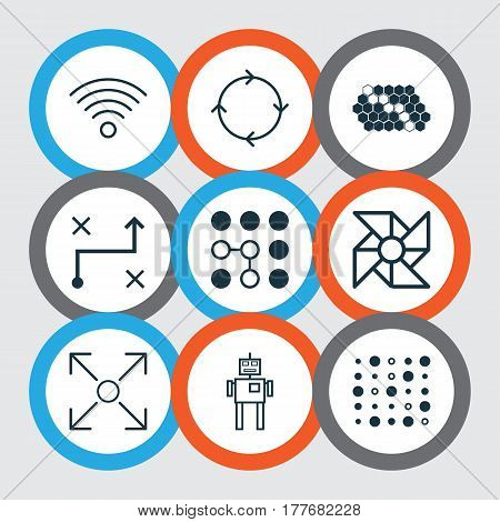 Set Of 9 Artificial Intelligence Icons. Includes Hive Pattern, Recurring Program, Variable Architecture And Other Symbols. Beautiful Design Elements.