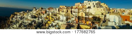 White City On  Slope Of  Hill At Sunset, Oia, Santorini