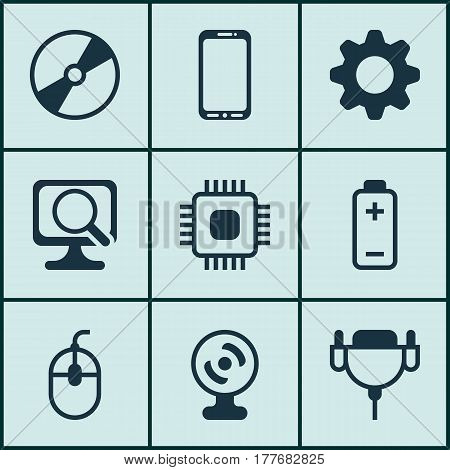 Set Of 9 Computer Hardware Icons. Includes Web Camera, Cd-Rom, Vga Cord And Other Symbols. Beautiful Design Elements.