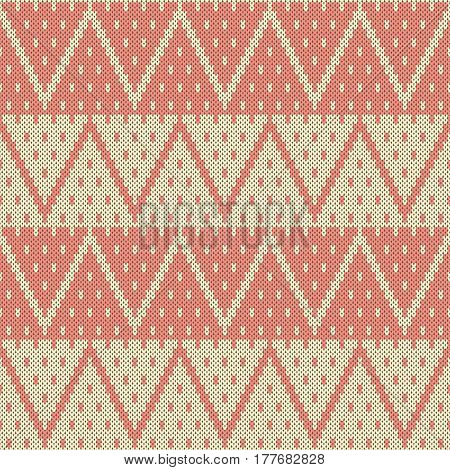 Seamless jacquard knitting pattern. Knitwear texture. Vector Illustration poster