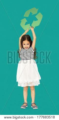 Little Girl Holding Recycle Symbol Studio Portrait