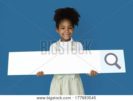 Little Girl Holding Magnifying Glass Search Box Studio Portrait