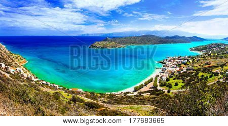 amazing Crete - beautiful view of Plaka village and Spinalonga island