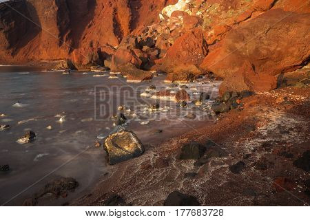 Scenic image of Red beach Santorini Greece
