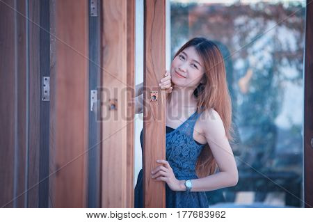 Asia Beuatiful Woman With Door Of Coffee Shop