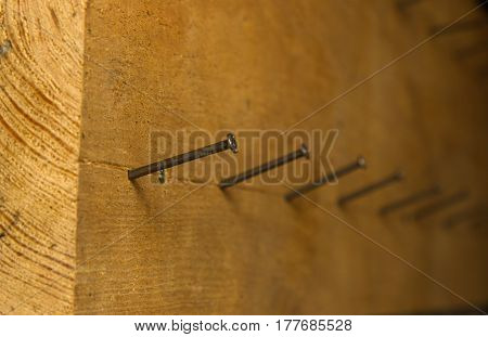 Hammered nails into the Board. Background. Fon