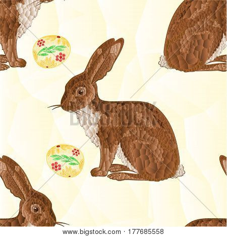 Seamless texture Easter Bunny and Easter eggs polygons mosaic vector illustration