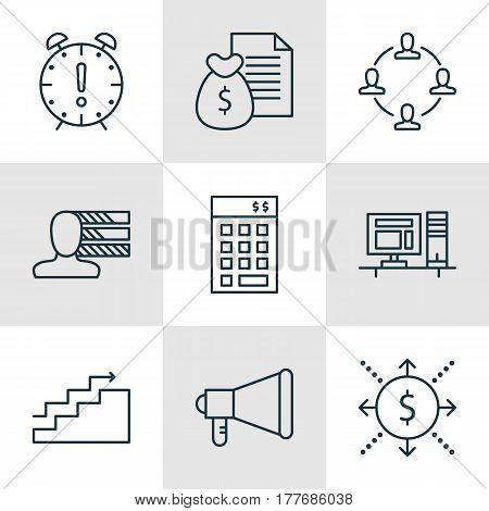 Set Of 9 Project Management Icons. Includes Computer, Money, Report And Other Symbols. Beautiful Design Elements.