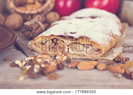 Strudel With Apples And Nuts.