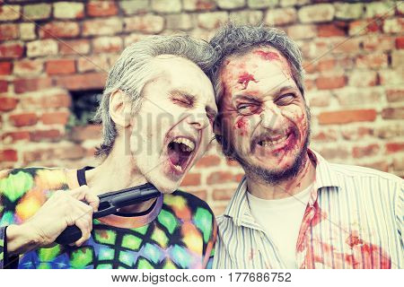 Zombies Scary Are Trying To Shoot Himself In The Head