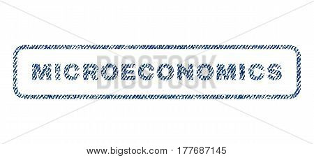 Microeconomics text textile seal stamp watermark. Blue jeans fabric vectorized texture. Vector caption inside rounded rectangular banner. Rubber emblem with fiber textile structure.
