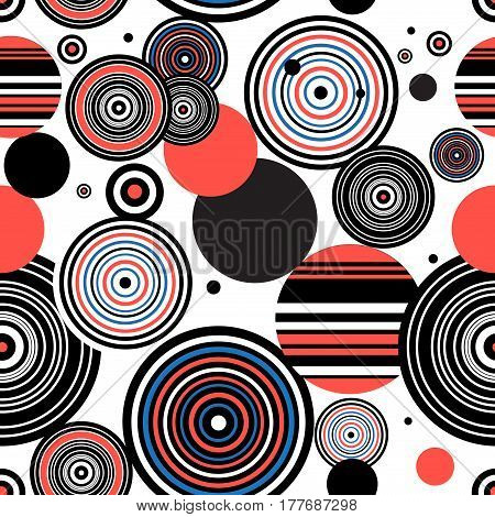 Seamless graphic pattern of geometric circular design elements