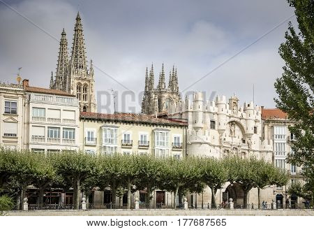 a view of Arco de Santa Maria and the cathedral of Burgos city, Spain