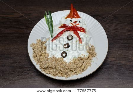 Funny Snowman Made Of White Souce In Plate