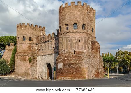 The Porta San Paolo is one of the southern gates in the 3rd-century Aurelian Walls of Rome Italy.