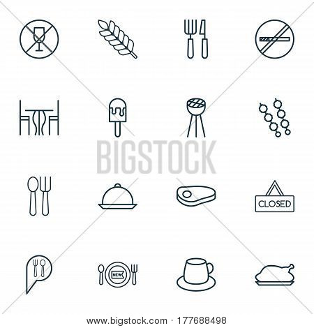 Set Of 16 Restaurant Icons. Includes Closed Placard, Lolly, Dining Room And Other Symbols. Beautiful Design Elements.