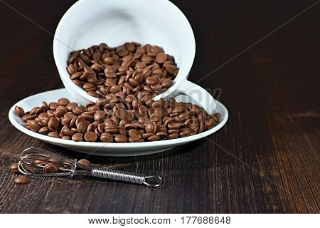 Grains Chocolate with beater on the brown wooden table.
