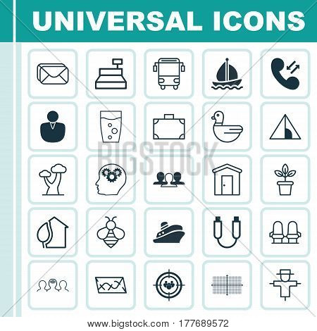 Set Of 25 Universal Editable Icons. Can Be Used For Web, Mobile And App Design. Includes Elements Such As Oak, Portable Memory, College Transport And More.