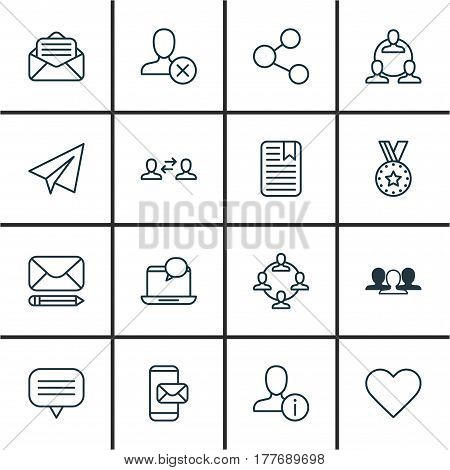 Set Of 16 Social Icons. Includes Follow, Read Message, Edit Mail And Other Symbols. Beautiful Design Elements.