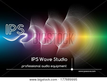 Abstract sound waves background. Colored wave form poster vector illustration. Illuminated of graphic music wave sound