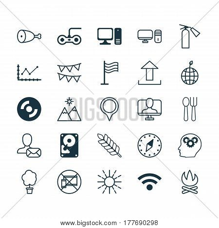 Set Of 25 Universal Editable Icons. Can Be Used For Web, Mobile And App Design. Includes Elements Such As Pin, Hdd, Send Data And More.