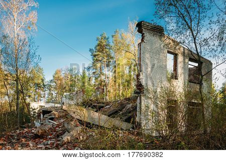 Facade of Old Abandoned Broken Ruined Building. Chernobyl Disasters.