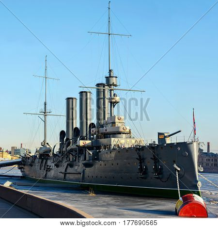 The legendary Cruiser Aurora on a Sunny spring morning on the river Neva in Saint-Petersburg on the