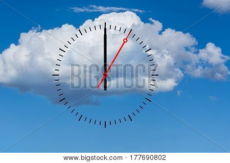 Clock dial with a minute hand and a red second hand indicates 12 o'clock. Copy space in front of sky and cloud background.