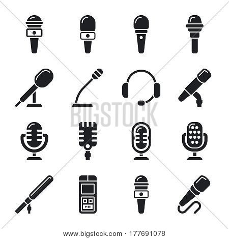 Microphone, sound, radio vector icons. Microphone for record sound music illustration