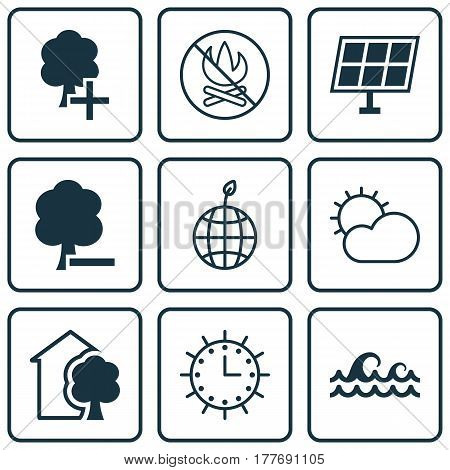 Set Of 9 Eco-Friendly Icons. Includes World Ecology, Insert Woods, Sun Clock And Other Symbols. Beautiful Design Elements.