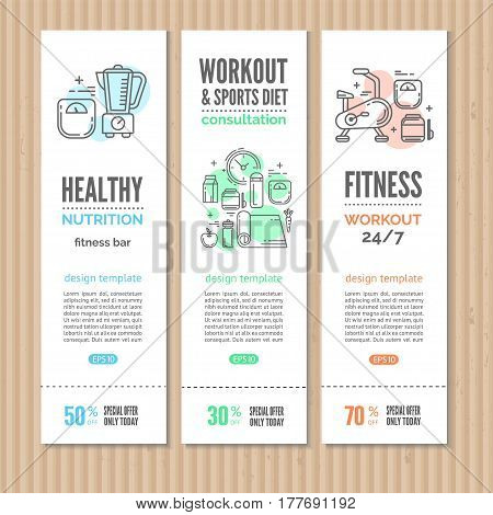 Print or web banners design template for  fitness studio, gym facility or health industry. Line style vector illustration. Ideal for business layout.