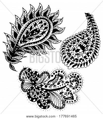 Set of handdrawn abstract henna paisley vector illustration doodle design elements. Indian mehendi art. Coloring book page, zentangle art, design for spiritual relaxation and meditation for adults.