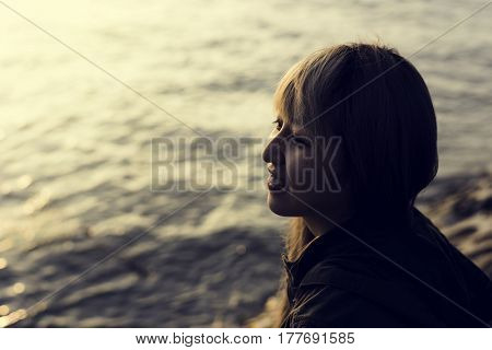 Adult Asian Woman with Ocean Coast Happiness Cheerful
