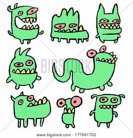 Funny Green Monsters in Different Shapes Vector Illustration. Contour Freehand Digital Drawing Cute Pet. White Color Background. Cheerful Collection Creatures for Web Icons and Shirt.