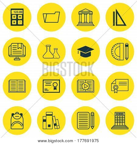 Set Of 16 Education Icons. Includes Education Tools, Measurement, Haversack And Other Symbols. Beautiful Design Elements.