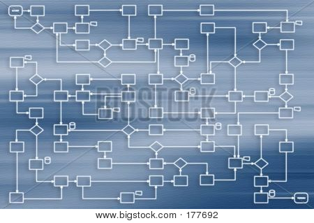 Business Process 2d On Blue Background