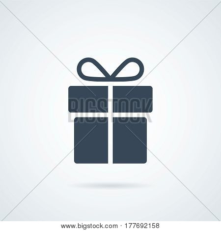 Present and gift icon. Holiday pictogram. Celebration vector graphic. Surprise design